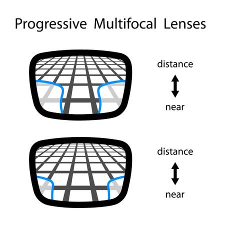 progressieve multifocale glazen lenzen Vector Illustratie