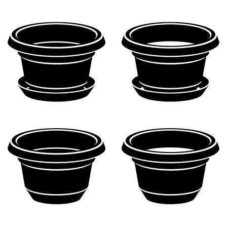 flowerpot: 3D flowerpot black symbol