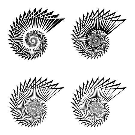 fibonacci: shell black line symbol