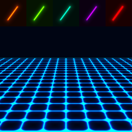 horizons: glowing perspective floor - easy to change color Illustration