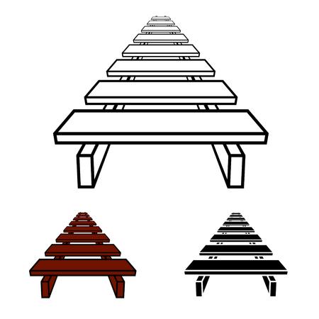 3D simple wooden footbridge black symbol Illustration