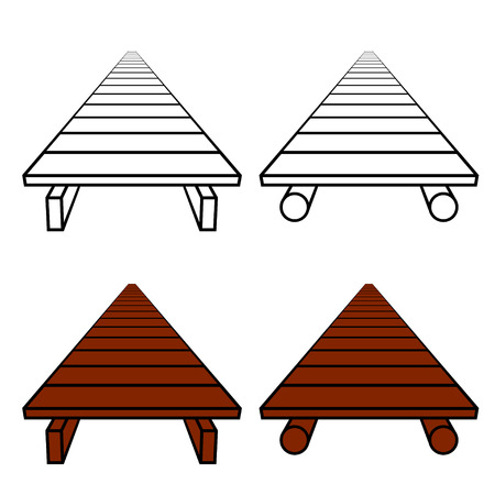 3D simple wooden footbridge black symbol Ilustração