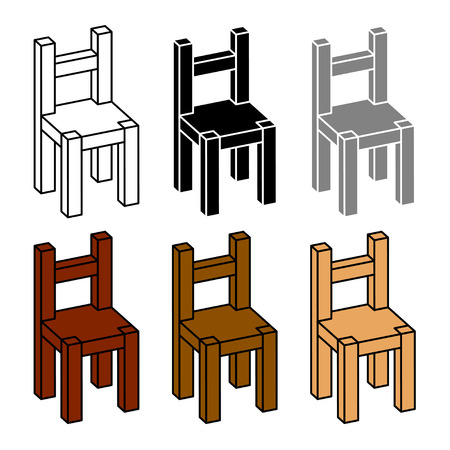 wooden chair: 3D simple wooden chair black symbol