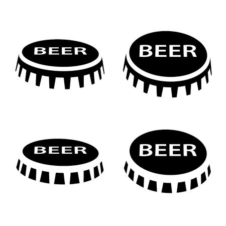 botella casquillo cerveza símbolo negro Ilustración de vector