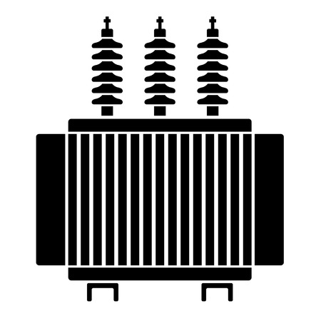 high tension: high voltage electrical transformer black symbol Illustration