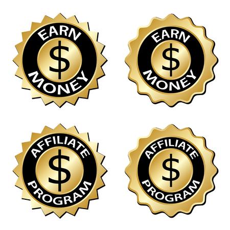 earn: golden earn money affiliate program label