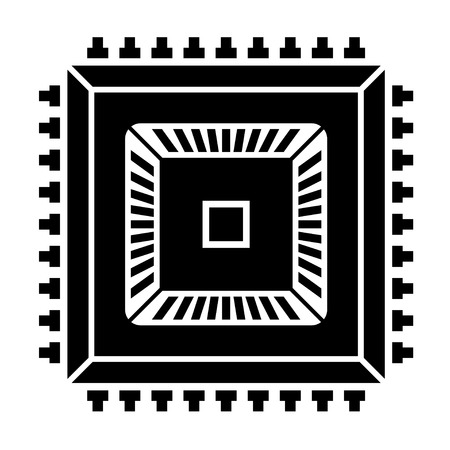 semiconductor: electronic chip black symbol