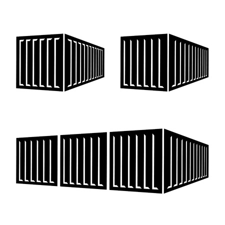 transportation cargo container black symbol