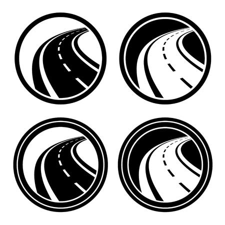 asphalt: curved asphalt road black symbol Illustration