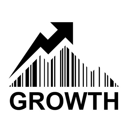 increase sales: EAN barcode mountain growth profit symbol vector