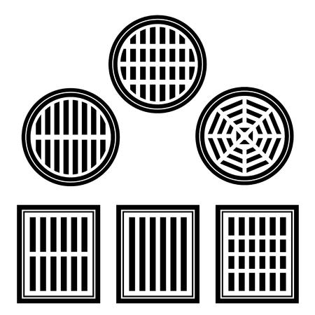 desague: cubierta de alcantarillado símbolo negro del vector Vectores