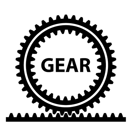 rack pinion spur gear wheel symbol vector