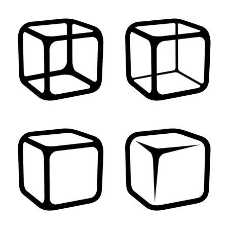 cubos de hielo: cubo de hielo vector de símbolos negro Vectores