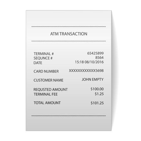 cash receipt: atm transaction printed paper receipt bill vector