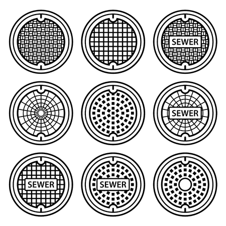 people silhouette: manhole sewer cover black symbol vector Illustration