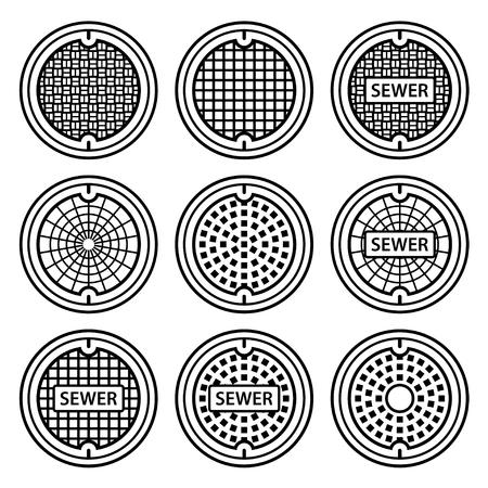 sewer: manhole sewer cover black symbol vector Illustration