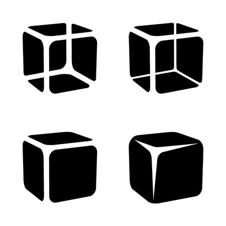 translucent: ice cube black symbols vector Illustration