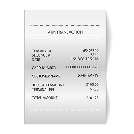 atm transaction printed paper receipt bill vector royalty free