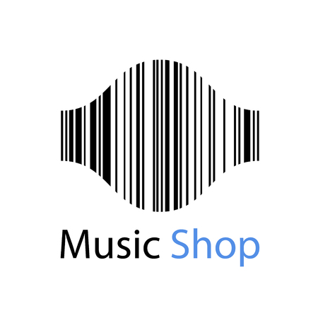 sonic: music shop EAN barcode sound wave symbol vector