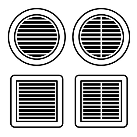 air hole: ventilation grille black symbol vector Illustration
