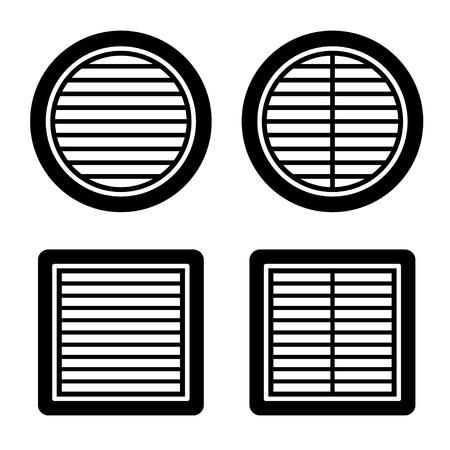 ventilation grille black symbol vector Ilustração