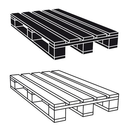 palette en bois symbole noir vecteur Vecteurs