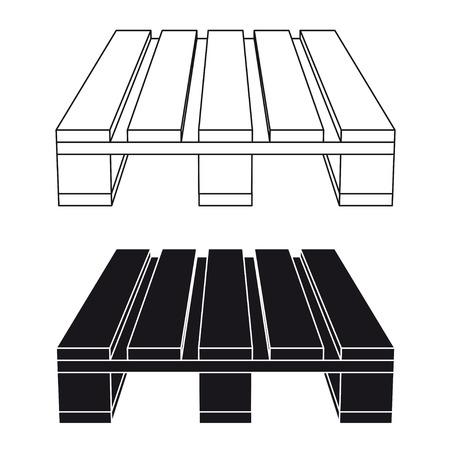 euro pallet: wooden pallet black symbol vector Illustration