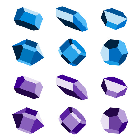 mineral stone: mineral crystal stone blue magenta vector