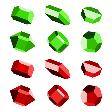red stone: mineral crystal stone red green vector Illustration