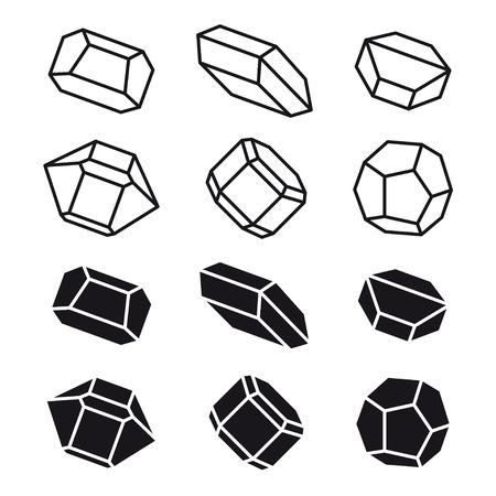 mineral stone: mineral crystal stone black white symbol vector Illustration