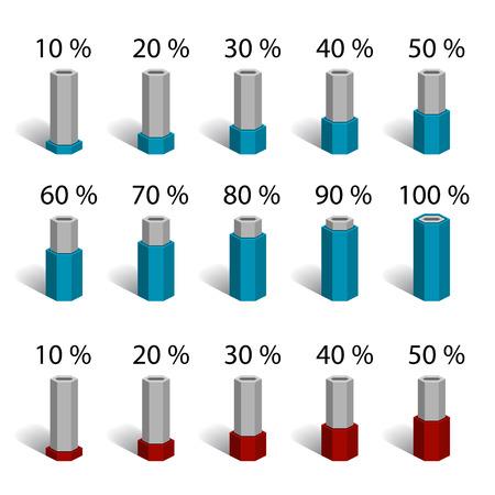 incremento: hexagonal bar percentage chart graph diagram vector