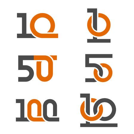10 50 100 anniversary number vector Illustration