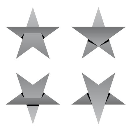 Grey paper star overlay vector Ilustração