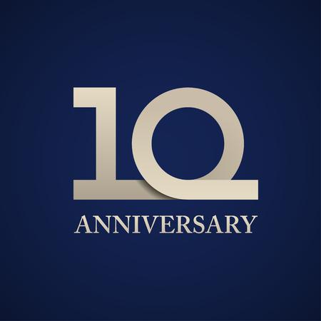 10 years anniversary paper number vector Ilustração