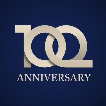 100 years anniversary paper number vector