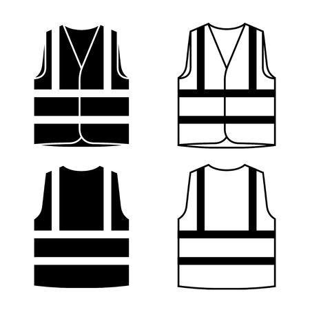 reflective safety vest black white.