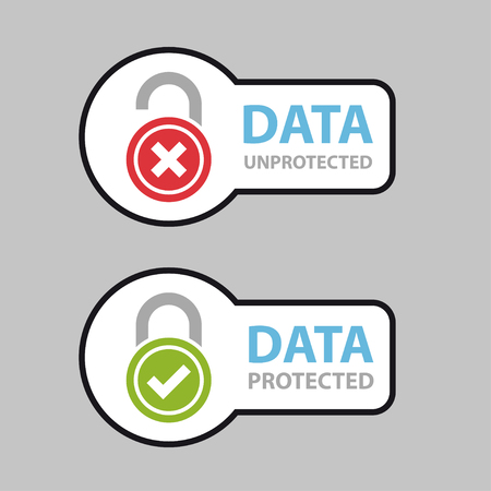 unprotected: data protected unprotected safety icon symbol.