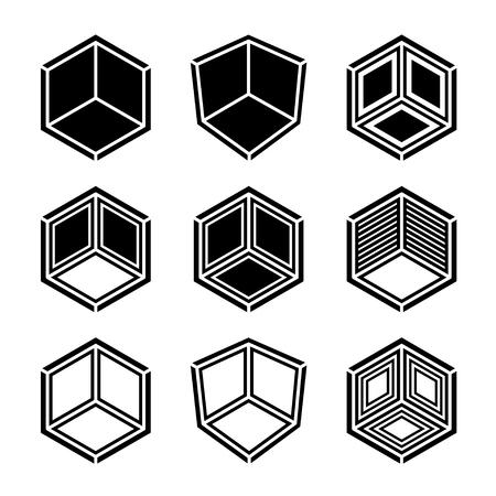 3D isometric empty room corner symbol.