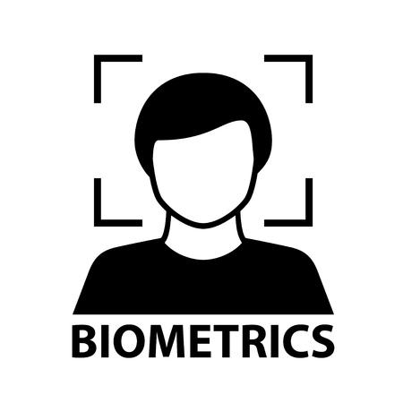 biometrics face recognition black symbol.