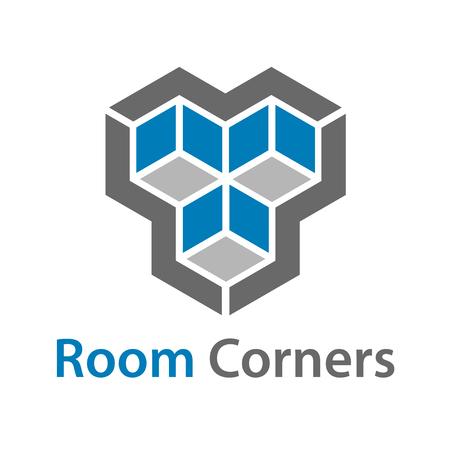 3D isometric empty room corners symbol vector