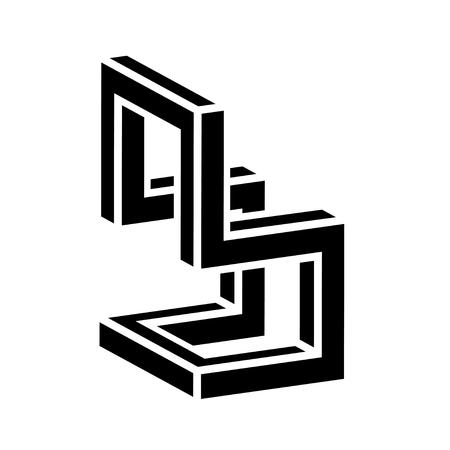 3D chair black symbol vector