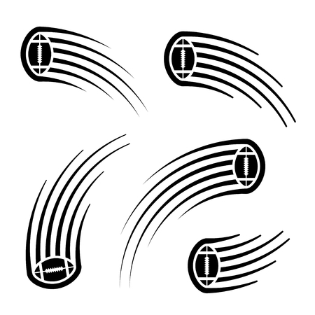 American football ball motion line symbol.