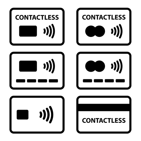 Contactless NFC payment credit card icon.