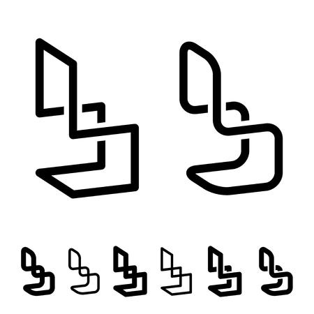 3D chair black symbol.