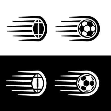 Soccer american football ball motion line.