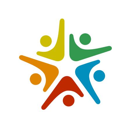 Human community five people symbol.
