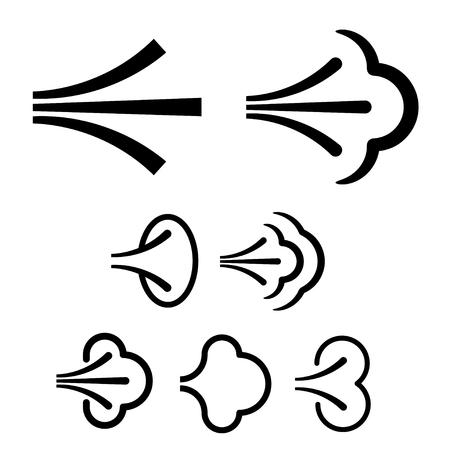 Spray fluid aerosol cloud icon vector.