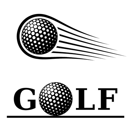 Golf ball motion line text symbol vector.