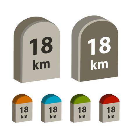 3d milestone boundary stone vector.