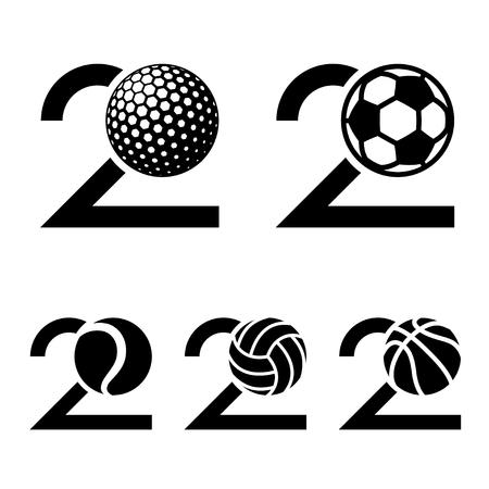 20 years sport ball anniversary vector. Ilustração